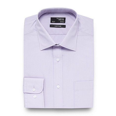 Thomas Nash - Big and tall lilac plain long sleeved shirt