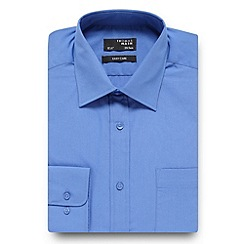 Thomas Nash - Mid blue plain regular fit shirt
