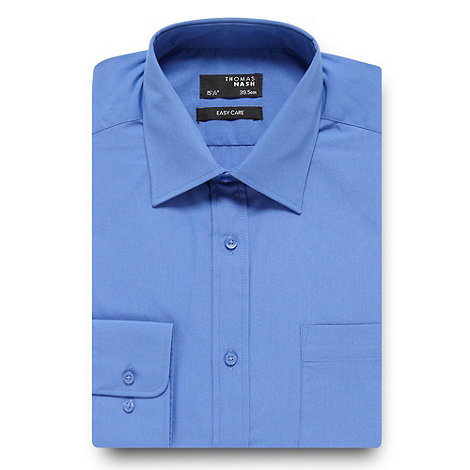 Thomas Nash - Big and tall mid blue plain regular fit shirt