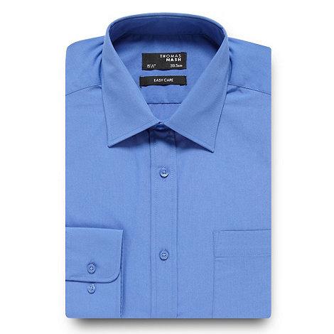 Thomas Nash - Big and tall mid blue plain regular fit shirt