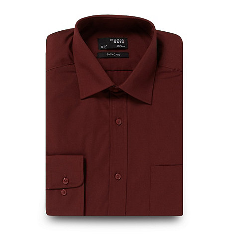 Thomas Nash - Big and tall maroon plain regular fit shirt