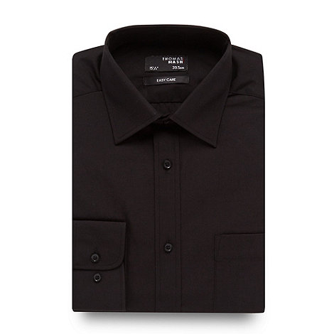 Thomas Nash - Black plain easy care shirt