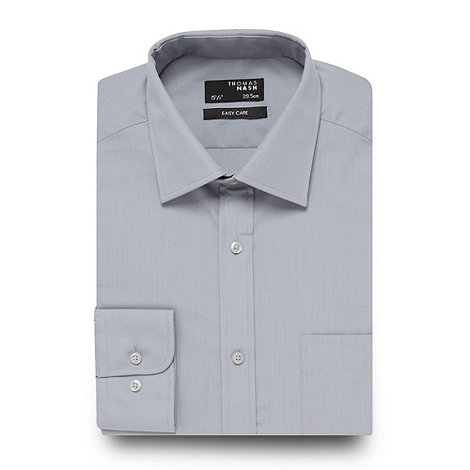 Thomas Nash - Grey plain regular fit shirt