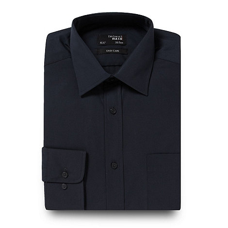 Thomas Nash - Dark grey plain regular fit shirt