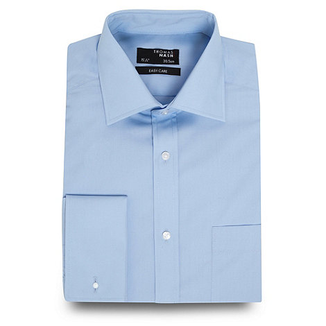 Thomas Nash - Big and tall blue plain regular fit shirt