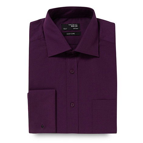 Thomas Nash - Big and tall purple plain regular fit shirt