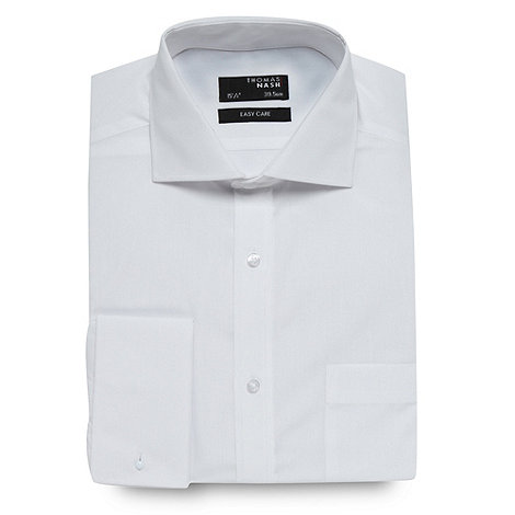 Thomas Nash - Big and tall white regular fit double cuff shirt