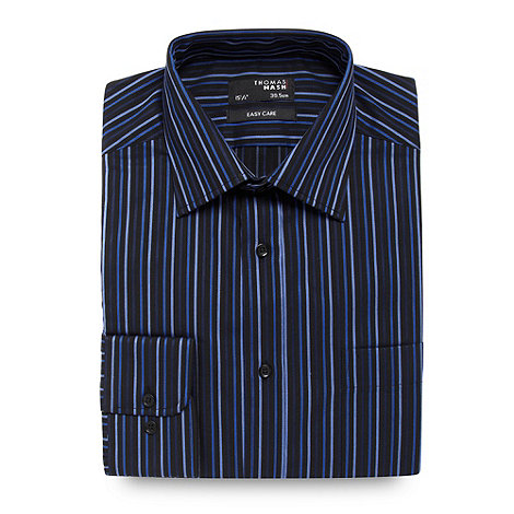 Thomas Nash - Dark blue striped regular fit shirt