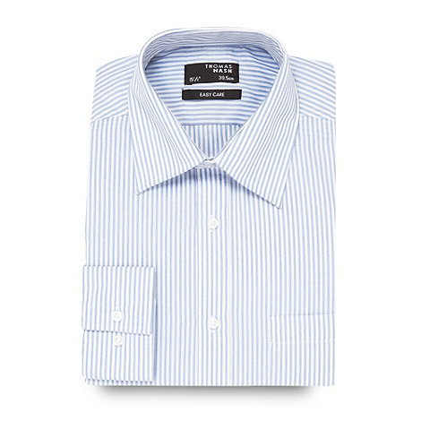 Thomas Nash - Blue textured striped shirt