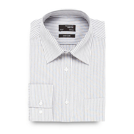 Thomas Nash - Big and tall grey striped easy care shirt
