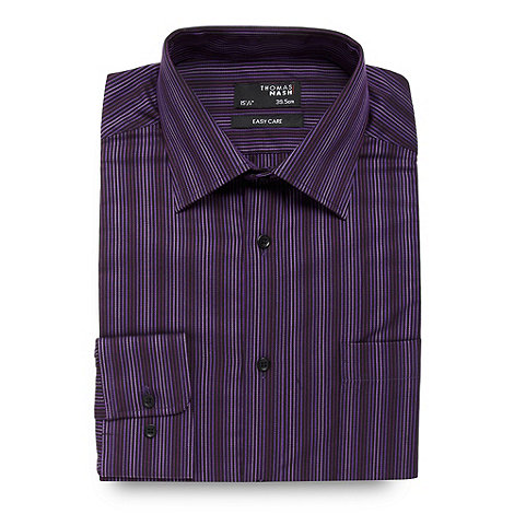 Thomas Nash - Purple graduating stripe regular fit shirt