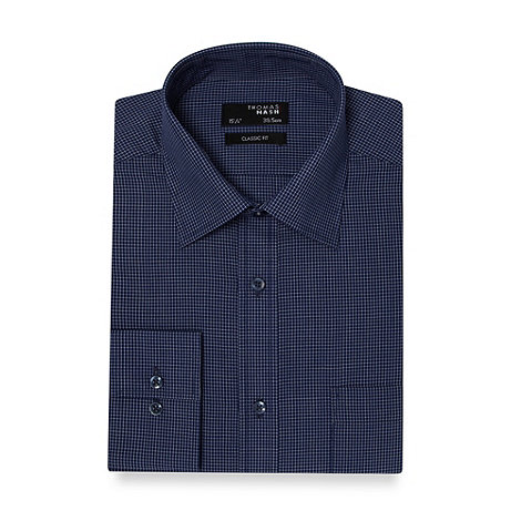 Thomas Nash - Navy grid checked regular fit shirt
