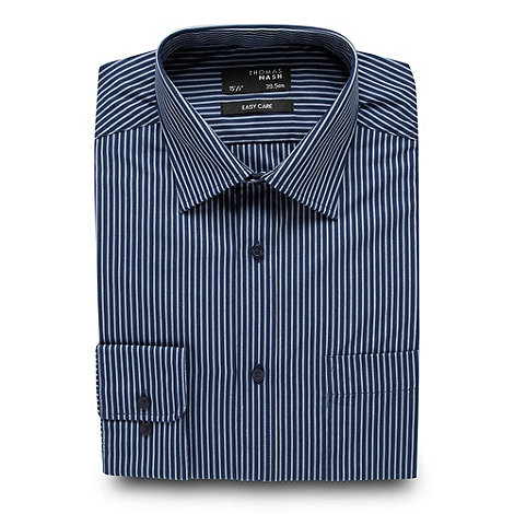 Thomas Nash - Dark blue striped easycare shirt