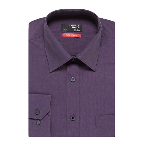 Thomas Nash - Big and tall dark purple easy iron shirt