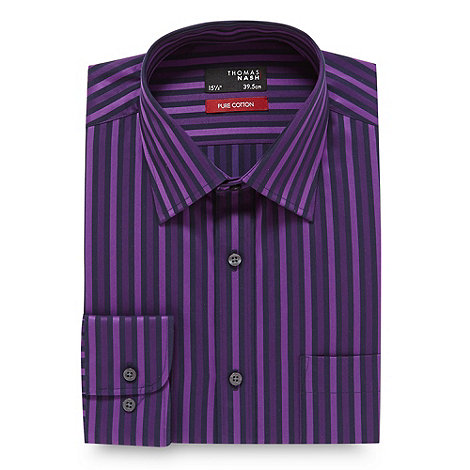 Thomas Nash - Purple sateen striped shirt
