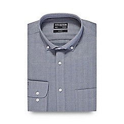 The Collection - Big and tall grey herringbone slim fit shirt