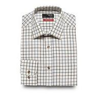 Big and tall brown twill checked regular fit shirt