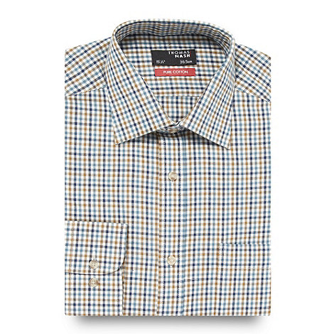 Thomas Nash - Big and tall olive brushed gingham shirt