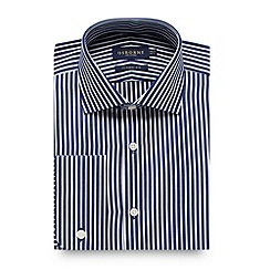 Osborne - Big and tall navy striped regular fit shirt