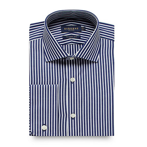 Osborne - Navy striped regular fit shirt