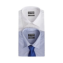 The Collection - Big and tall pack of two white and blue plain and printed tailored fit shirts with a tie