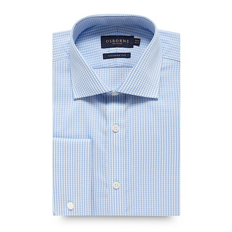 Osborne - Light blue twill gingham tailored fit shirt