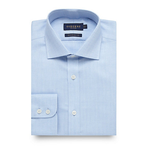 Osborne - Plain blue herringbone shirt
