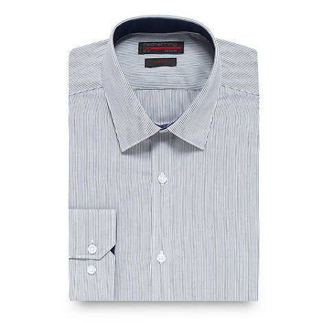 Red Herring - Navy pinstriped shirt