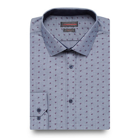 Red Herring - Light blue paisley slim fit shirt