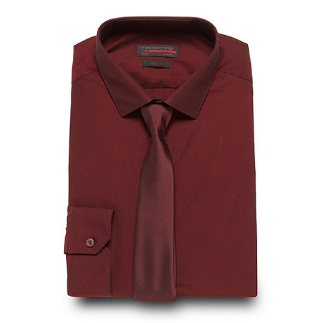Red Herring - Wine slim fit shirt and tie set