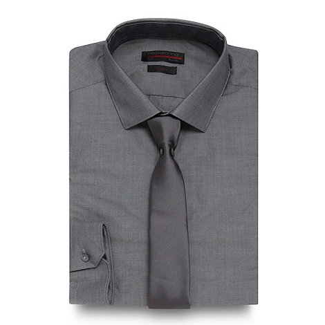 Red Herring - Dark grey slim fitting shirt and tie set