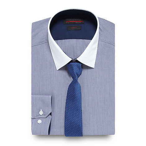 Red Herring - Navy pin striped shirt and tie set