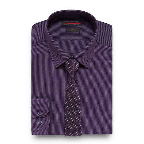 Red Herring - Purple pinstriped shirt and tie set