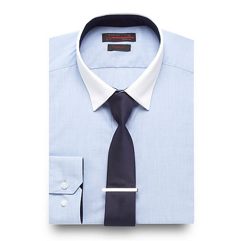 Red Herring - Blue crosshatch slim fitting shirt and tie set with tie clip