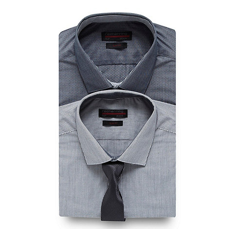 Red Herring - Pack of two grey spotted and striped shirts and tie