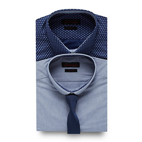 Red Herring - Pack of two blue circle shirts and tie