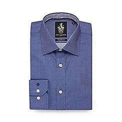 Jeff Banks - Navy diamond textured tailored fit shirt