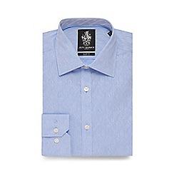 Jeff Banks - Big and tall light blue floral jacquard slim fit shirt