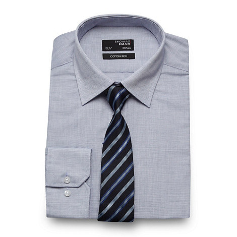 Thomas Nash - Blue textured regular fit shirt and tie