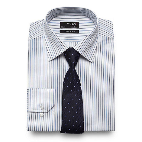 Thomas Nash - Blue striped regular fit shirt and tie