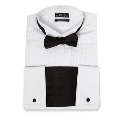 Black Tie Big and tall white wing collar pintuck shirt - . -