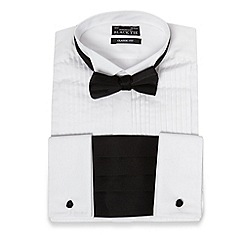 Black Tie - White wing collar pintuck shirt