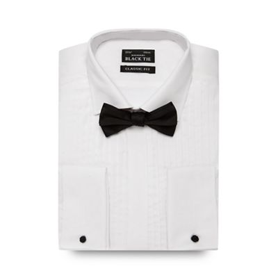 Black Tie Big and tall white pleated regular fit shirt and bow tie - . -