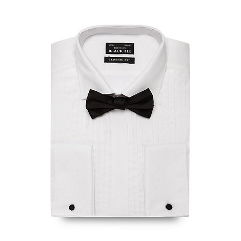 Thomas Nash - White pleated regular fit shirt and bow tie