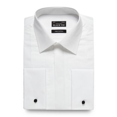 Black Tie Big and tall white pintuck pleated long sleeved dress shirt - . -