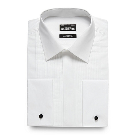 Black Tie - White pintuck pleated long sleeved dress shirt