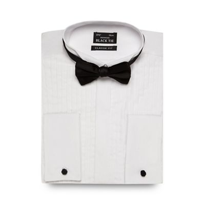 Black Tie Big and tall white regular fit pleated shirt and bow tie - . -