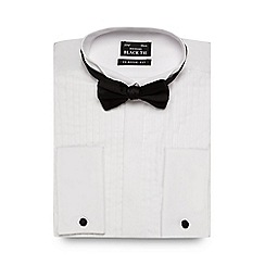Thomas Nash - Big and tall white regular fit pleated shirt and bow tie