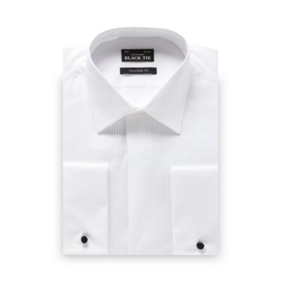 Black Tie Big and tall white narrow pleated tailored fit dress shirt - . -