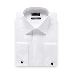 Black Tie - Big and tall white narrow pleated tailored fit dress shirt